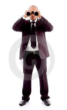 Standing Male Looking Through Binocular Royalty Free Stock Images - Image: 8196219