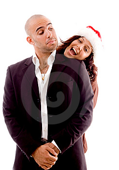 Female Peeping Out Of Man's Shoulder Stock Photography - Image: 8196302