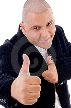 Good Looking Mature Accountant With Thumbs Up Stock Photos - Image: 8196483