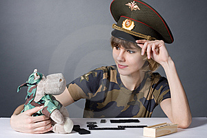 Beautiful Young Girl In Form Of Russian Army Royalty Free Stock Image - Image: 8197266