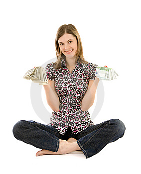 Young Woman With Dollars And Euros; Isolated Stock Photo - Image: 8197360