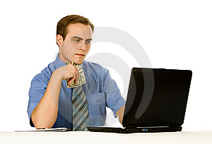 Businessman Working. Isolated No White Royalty Free Stock Photos - Image: 8197498