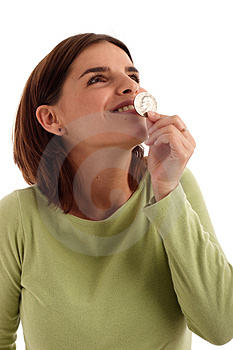 Kissing The Coin Royalty Free Stock Photo - Image: 821175