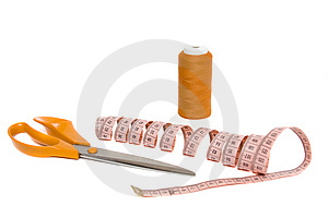 Tape Measure And Shears Royalty Free Stock Images - Image: 8202069