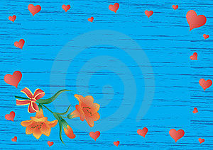 Scope With Lilies, Hearts And Bow Royalty Free Stock Photo - Image: 8203885