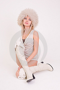Upset Girl In Furry Hat Royalty Free Stock Photography - Image: 8204277