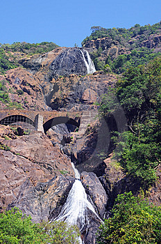 Indian Waterfall Dudhsagar In Jungle Forest Stock Images - Image: 8206024