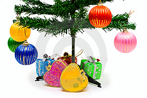 Holiday Tree With Decoration And Gifts Stock Images - Image: 8206614