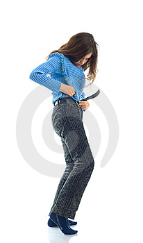 Cute Teen Girl Try On Jeans Royalty Free Stock Photography - Image: 8206737