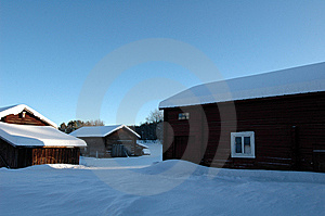 Swedish Farm In Winter Royalty Free Stock Images - Image: 8206889