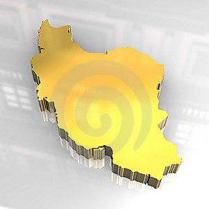 3d Golden Map Of Iran Stock Photography - Image: 8208592