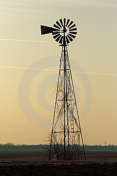 Prairie Windmill At Sunrise Stock Images - Image: 8208924
