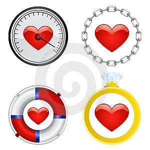 Vetor Do Grupo De Símbolo Do Coração Foto de Stock - Imagem: 8209330