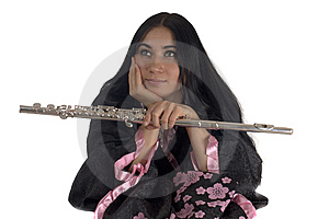 Young Woman With A Flute Royalty Free Stock Photo - Image: 8209925