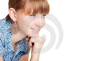 Pretty Smiling Girl On White Background Stock Photos - Image: 8210313