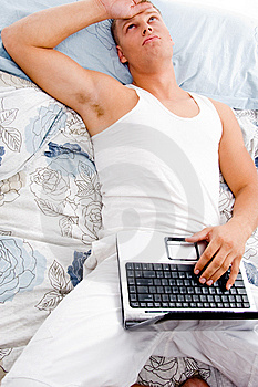 Man Resting With Laptop Royalty Free Stock Images - Image: 8211209