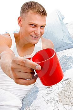 Male Showing Coffee Mug Stock Image - Image: 8211311