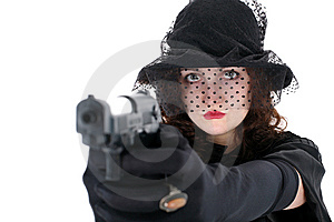 Girl With Gun Royalty Free Stock Photography - Image: 8216117