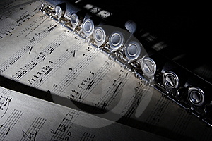Flute And Old Sheet Music Stock Photo - Image: 8216160