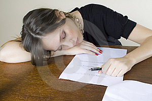 Attractive Girl Secretary Asleep On Her Desktop Stock Photos - Image: 8218653