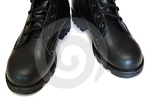 Two Black Leather Army Boots. Stock Photo - Image: 8219230