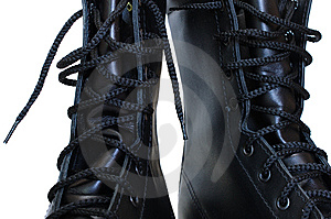 Two Black Leather Army Boots. Stock Photography - Image: 8219262