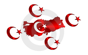 Big Turkish Map And Flag Royalty Free Stock Photo - Image: 8219555
