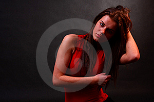 Attractive Girl On Black Backround Royalty Free Stock Photography - Image: 8222667