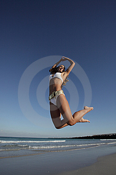 Jumping Woman Stock Images - Image: 8224274