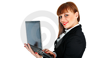 Business Woman With Laptop Royalty Free Stock Images - Image: 8225009
