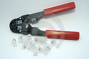 Squeezing Crimper And Rj45 Royalty Free Stock Image - Image: 8225146