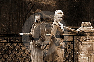 Two Girl In Fall Park Stock Images - Image: 8226414