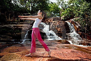 Young Woman Relaxing At The Waterfall Stock Photos - Image: 8226423