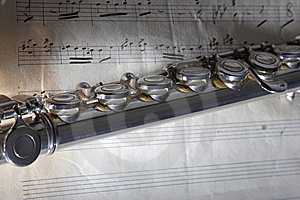 Flute And Old Sheet Music Stock Photo - Image: 8227550