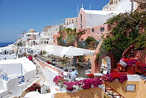 Oia On Santorini Island, Greece - Blue Sky, Church Stock Images - Image: 8227814