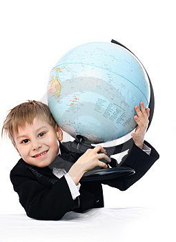 Schoolboy With A Globe Royalty Free Stock Images - Image: 8228369