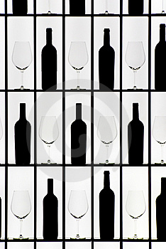 Black Bottles And Crystal Glasses Stock Images - Image: 8231644