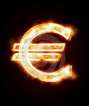 Conflagrant Luminous Sign Of Euro Royalty Free Stock Image - Image: 8231766