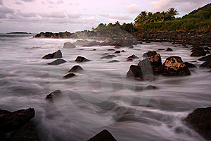 Scenic Hawaiian Shoreline At Dusk Stock Images - Image: 8232374