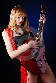 Woman With Electric Guitar Royalty Free Stock Image - Image: 8235076