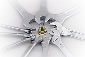 Nut And Wrenches. Stock Photo - Image: 8238810