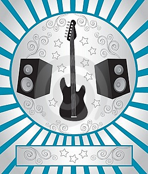 Guitar And Speakers Royalty Free Stock Image - Image: 8241556