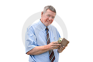 Mature Businessman Reluctantly Paying A Bill Stock Image - Image: 8243701