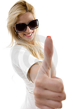 Side View Of Smiling Woman Showing Thumbs Up Royalty Free Stock Photos - Image: 8244088