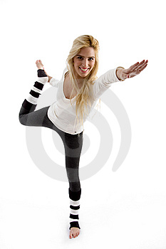 Front View Of Happy Female Exercising Royalty Free Stock Photography - Image: 8244147