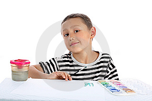 Boy With Paint Stock Image - Image: 8244921