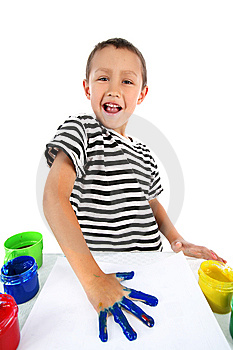 Boy With Paint Royalty Free Stock Images - Image: 8245319
