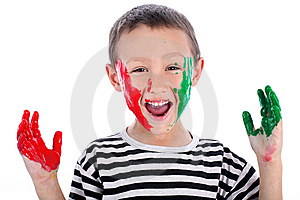 Boy With Paint Stock Photography - Image: 8245372