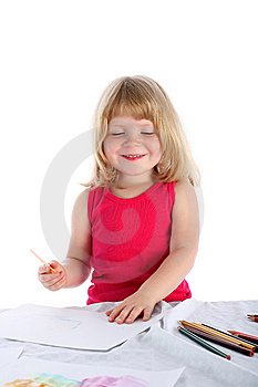 Girl Draw Royalty Free Stock Images - Image: 8246679