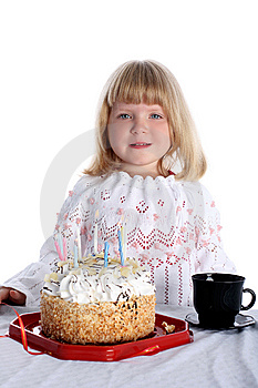 Girl With Birthday Cake Royalty Free Stock Images - Image: 8246809